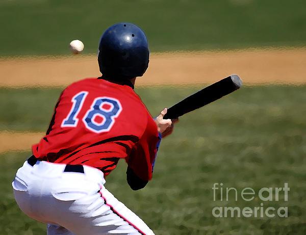 Helmet Mixed Media - Baseball Batter by Lane Erickson