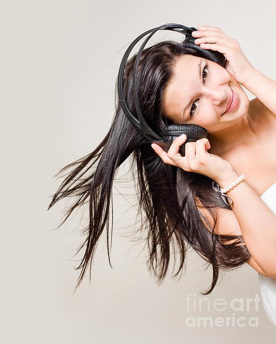 Attractive Photograph - Beautiful Brunette Enjoying Music. by Alstair Thane