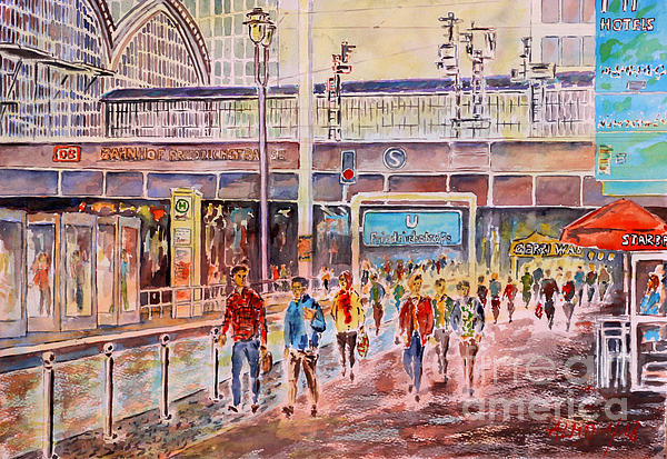 Watercolor Painting - Berlin Frederic Street Station by Alfred Motzer