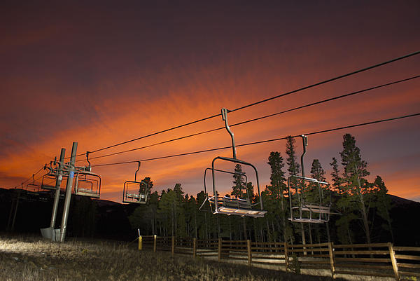 Landscape Photograph - Breckenridge Chairlift Sunset by Michael J Bauer