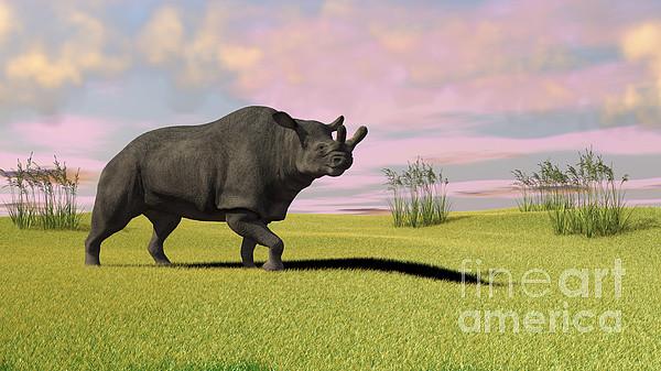 Three Dimensional Digital Art - Brontotherium Grazing In Prehistoric by Kostyantyn Ivanyshen