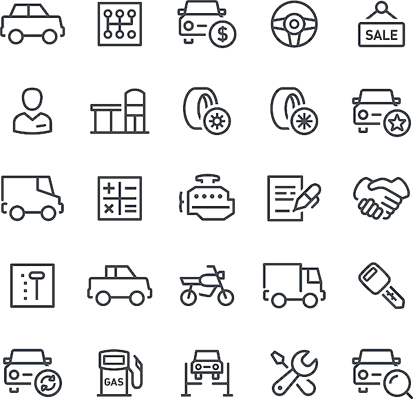 Car Service Icons Drawing by Soulcld