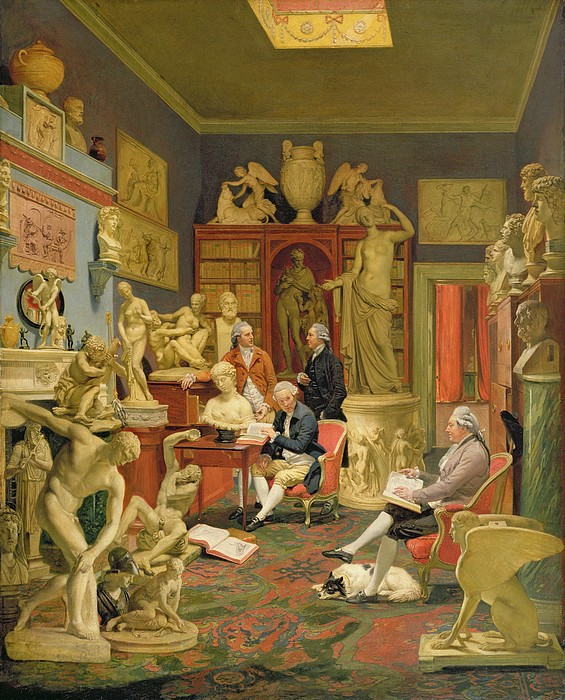 Grand Tour Painting - Charles Townley And His Friends by Johann Zoffany