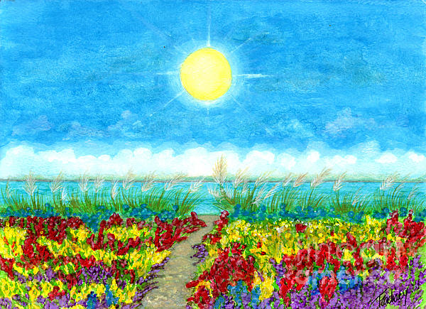Flowers Painting - Color Path by Tina Zachary
