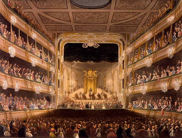 Covent Garden Theater Painting By Pugin And Rowlandson