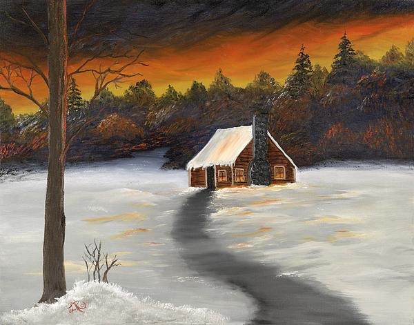 Winter Painting - Cozy Cabin by Lisa Rodriguez