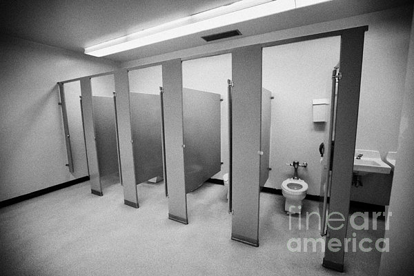 Toilet Photograph - cubicle toilet stalls in womens bathroom in a High school canada north america by Joe Fox
