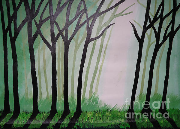 Landscape Painting - Day Light In Dark Forest by Jnana Finearts