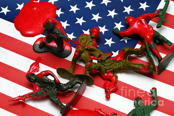 Against The War Photograph - Fallen Toy Soliders On American Flag by Amy Cicconi