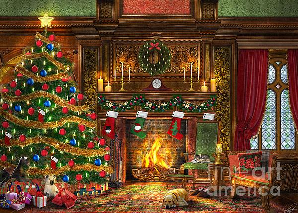 Dominic Davison Digital Art - Festive Fireplace by Dominic Davison