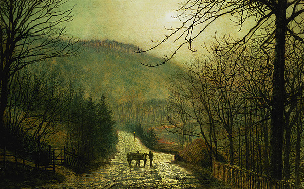 Road Painting - Forge Valley by John Atkinson Grimshaw
