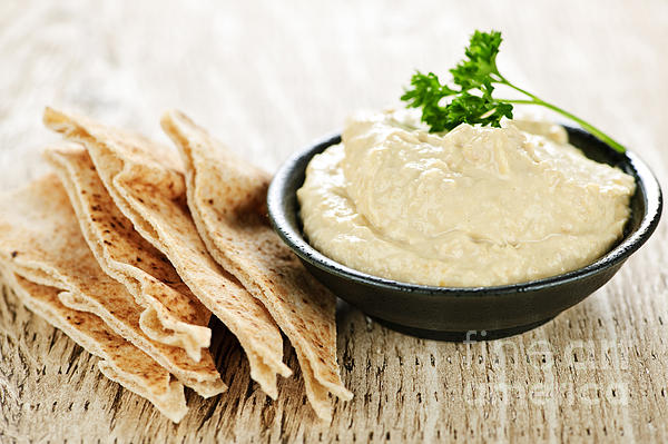 Hummus Photograph - Hummus With Pita Bread by Elena Elisseeva