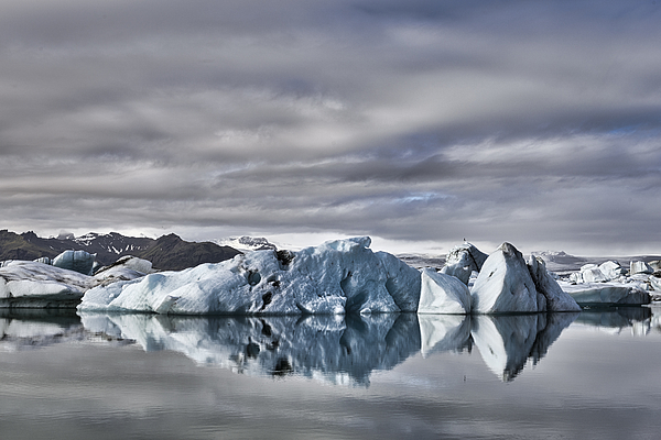 Icebergs Floating  In The Jokulsalon Glacier Lagoon In Iceland 1 Photograph by Sjo