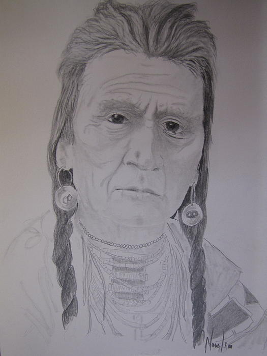 Indians Drawing - Indian Chief by BD Nowlin