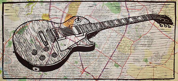 Les Paul Drawing - Les Paul On Austin Map by William Cauthern