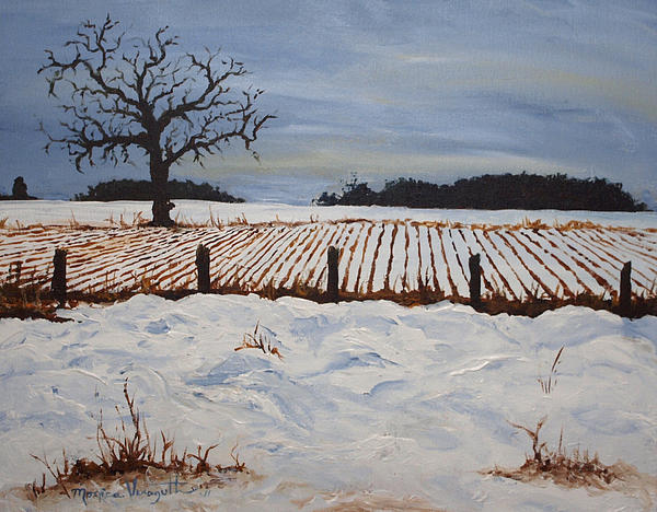 Nature Painting - Lone Tree In Winter by Monica Veraguth