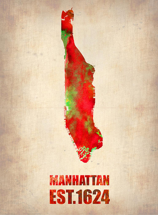 Manhattan Painting - Manhattan Watercolor Map by Naxart Studio