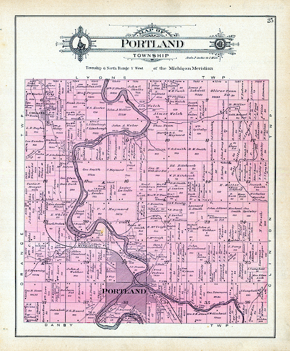 Michigan 1906 Portland Township Portland Ionia County By Historic Map Works Llc