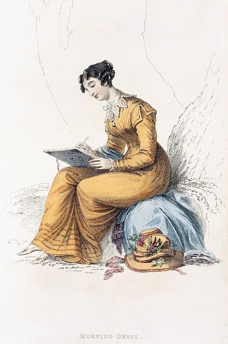 Costume Drawing - Morning Dress, Fashion Plate by English School