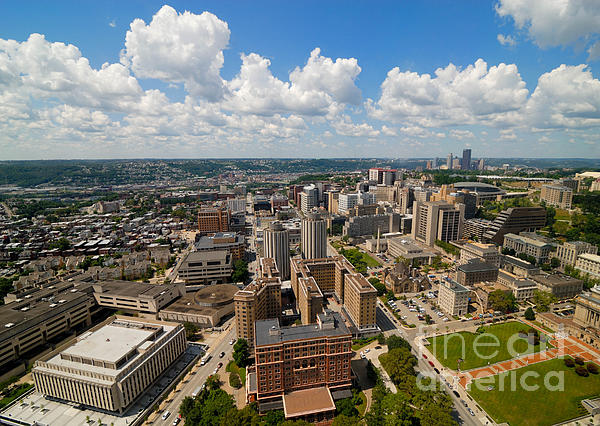 Aerial View Photograph - Oakland Pitt Campus With City Of Pittsburgh In The Distance by Amy Cicconi