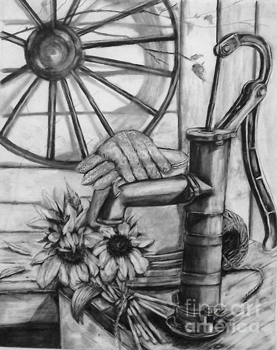 Water Pump Drawing - Old Water Pump by Laneea Tolley
