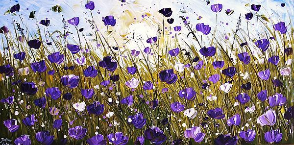 Poppis In Purple Painting by Jolina Anthony
