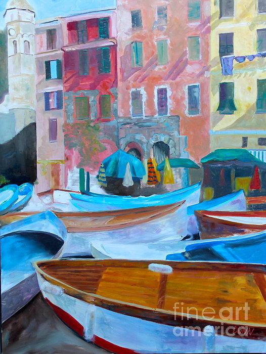 Boats Painting - Portofino by Barbara Lynn Dunn