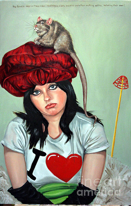 Rodent Painting - Rat Hat by Shelley Laffal
