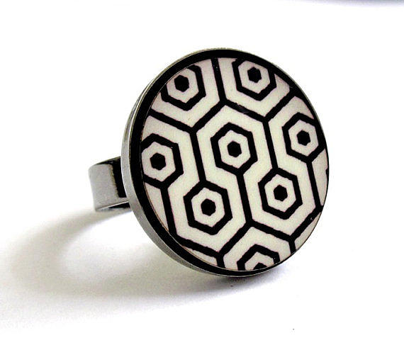 Black Ring Jewelry - Retro Dreams In Black And White Ring by Rony Bank