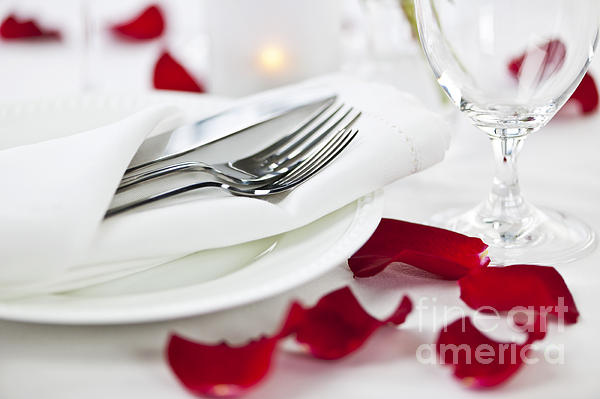 Romantic Photograph - Romantic Dinner Setting With Rose Petals by Elena Elisseeva