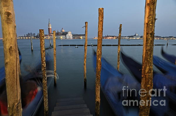 Blurred Photograph - San Giorgio Maggiore Church And Gondolas At Dusk by Sami Sarkis