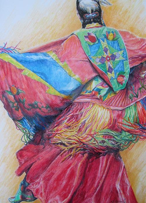 Native Americans Drawing - Shawl Dancer by Sharon Sorrels