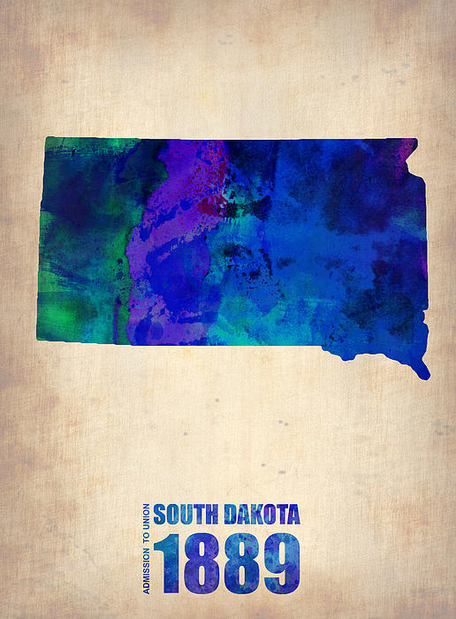 South Dakota Painting - South Carolina Watercolor Map by Naxart Studio