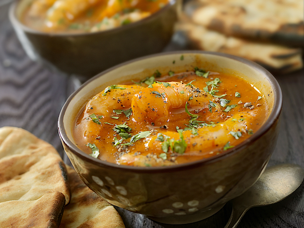 Spicy Red Curry Soup With Shrimp And Naan Bread Photograph by LauriPatterson