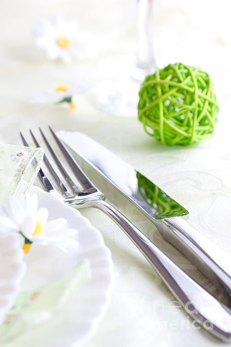 Arrangement Photograph - Spring Table Setting by Mythja  Photography
