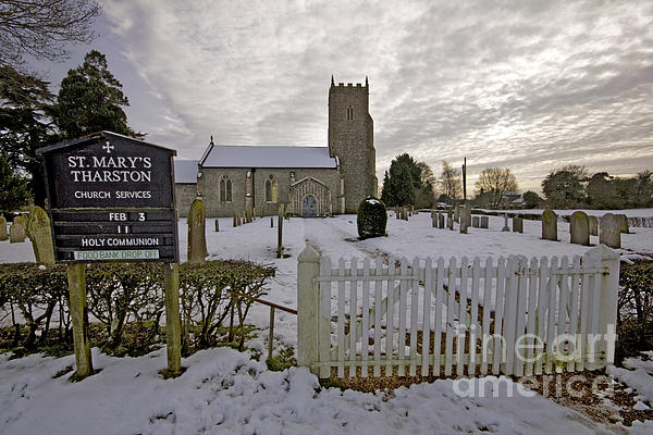 Snow Photograph - St Marys Tharston by Darren Burroughs