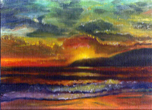 Landscape Drawing - Sunset Beach by Linda Pope