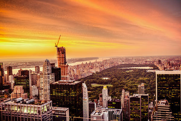 Nyc Photograph - Sunset Over Central Park And The New York City Skyline by Vivienne Gucwa