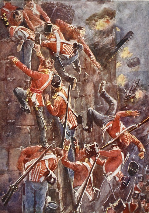 British Army Drawing - The 5th Division Storming By Escalade by William Barnes Wollen