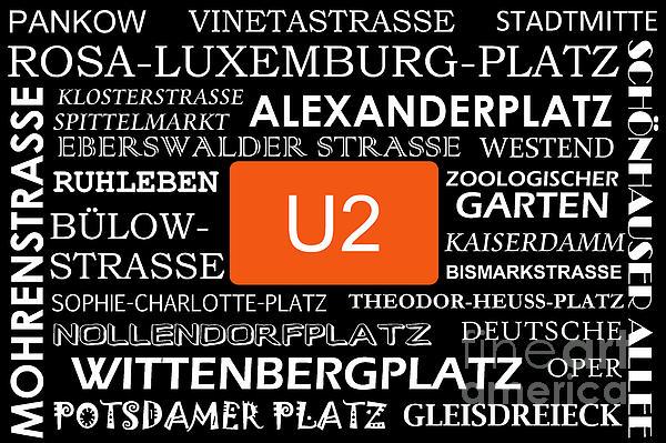 U2 Digital Art - U Bahn Metro U2 Berlin by Art Photography