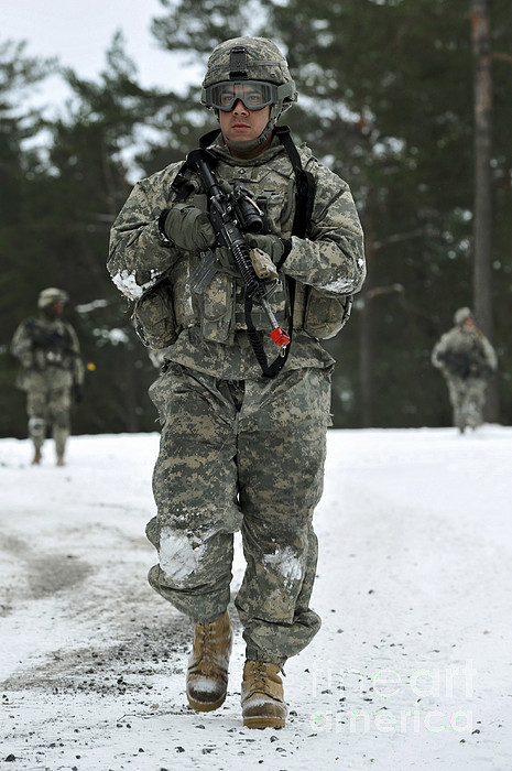 Grafenwoehr Training Area Photograph - U.s. Army Soldier Conducts A Dismounted by Stocktrek Images