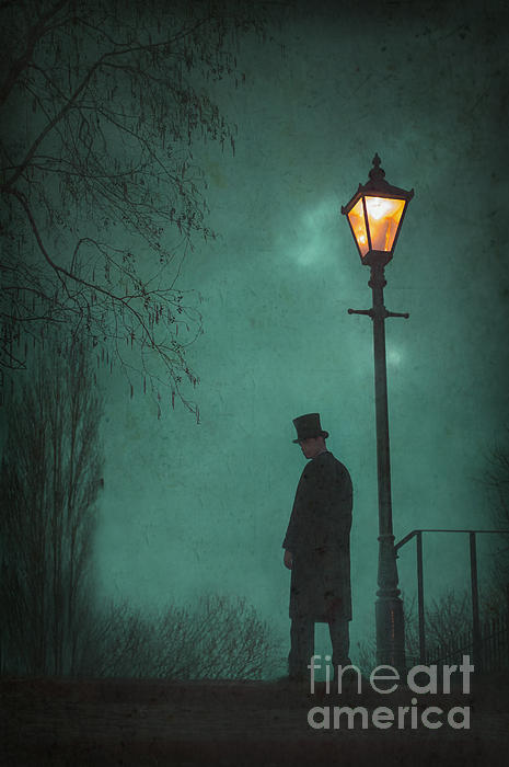 Victorian Photograph - Victorian Man Standing Next To An Illuminated Gas Lamp by Lee Avison