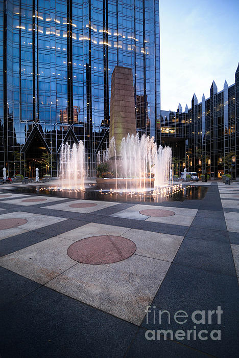 Architectural Photograph - Water Fountain At Ppg Place Plaza Pittsburgh by Amy Cicconi