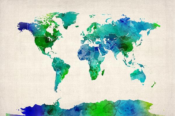World Map Digital Art - Watercolor Map Of The World Map by Michael Tompsett