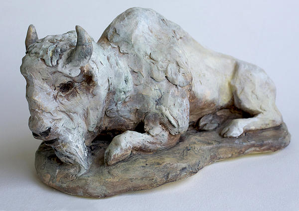 Sculpture Sculpture - White Buffalo-sculpture by Derrick Higgins