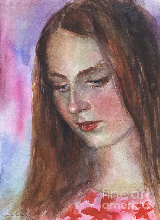 Girl 3 Painting - Young Woman Watercolor Portrait Painting by Svetlana Novikova