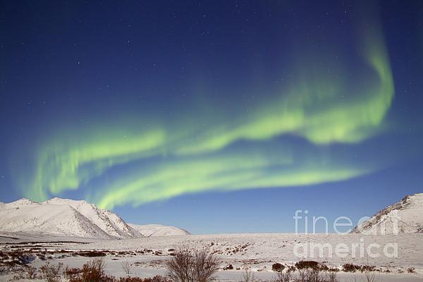 Horizontal Photograph - Aurora Borealis With Moonlight by Joseph Bradley