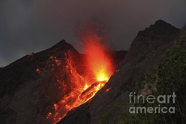 Horizontal Photograph - Strombolian Type Eruption Of Batu Tara by Richard Roscoe