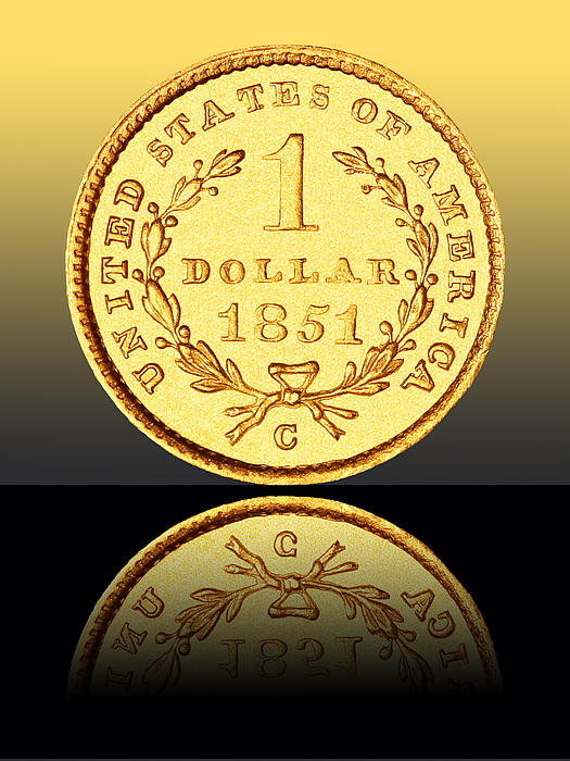 Coin Photograph - 1851 1 Dollar Rare Charlotte Gold by Jim Carrell