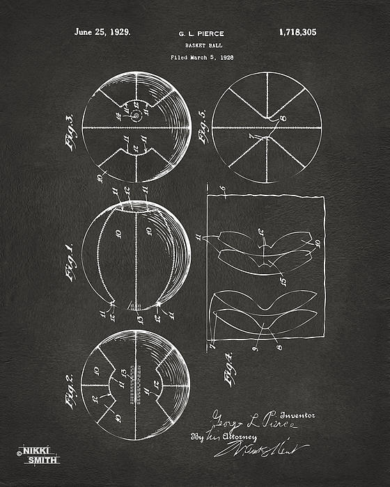 Basketball Drawing - 1929 Basketball Patent Artwork - Gray by Nikki Marie Smith